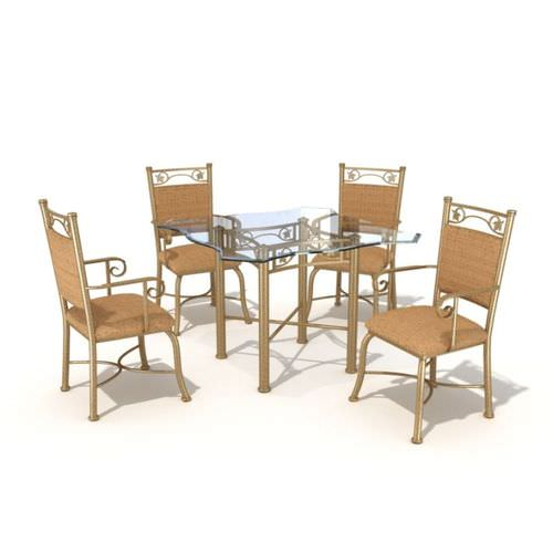 Dining Set 4 Chairs And Glass Table 3D Model