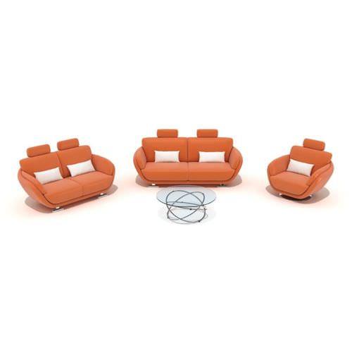 Orange Furniture Set Coach Armchair Table3D model
