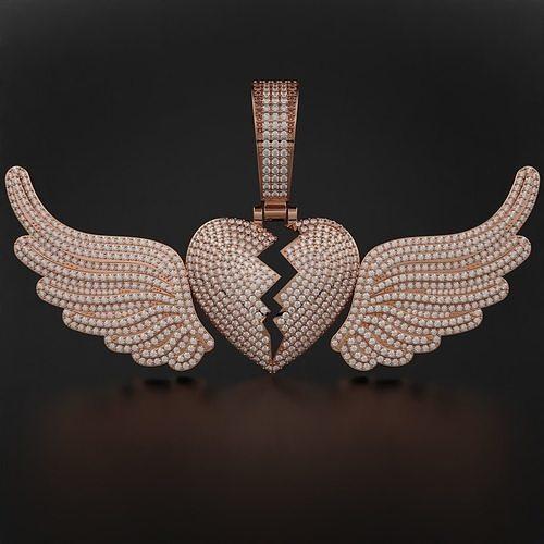 Broken Heart with Wings Pendant