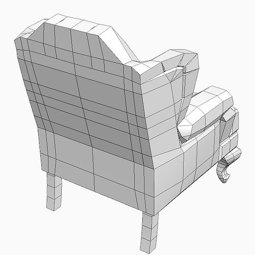 Wing Chair Tufted Back 3d Model Max Obj 3ds Fbx Mtl 5
