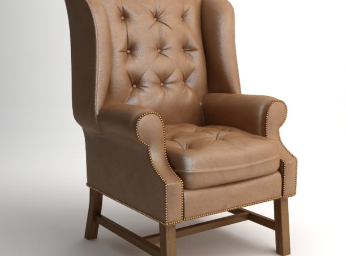 Traditional Wing Back Armchair3D model