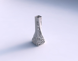 3d print model vase twisted squeezed rectangle with organic lattice and solid centers