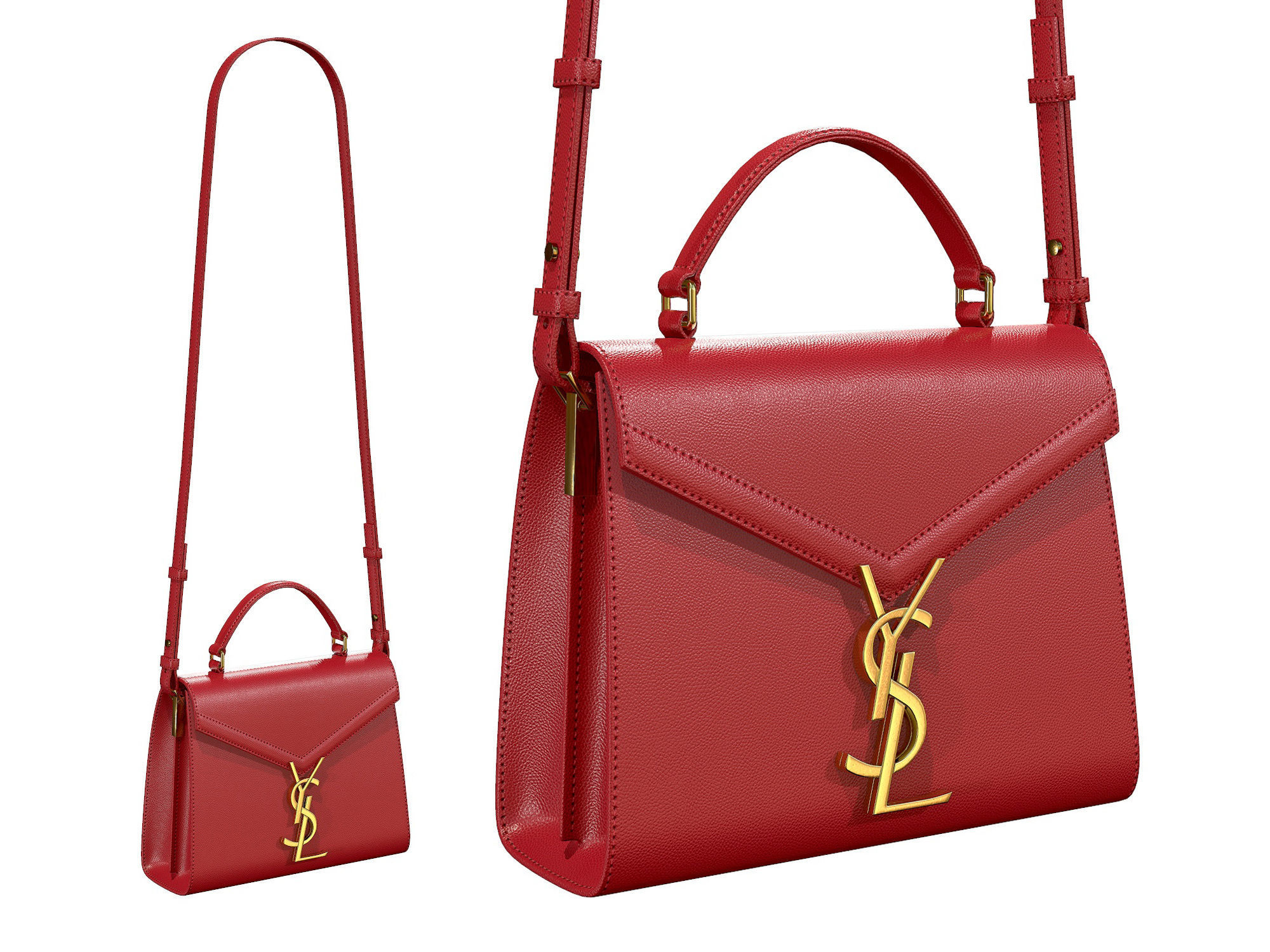 YSL Saint Laurent Cassandra Mini Top Bag Red Leather
