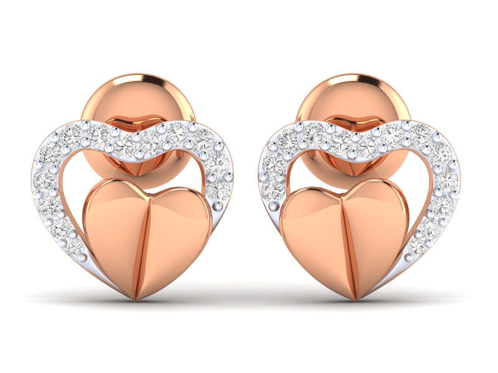 Women Heart Earrings 3dm stl render detail