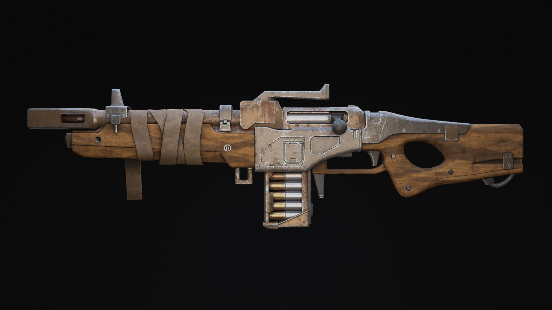 Rifle Sci-Fi Post Apocalypse Game Ready