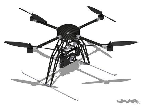 quadcopter generic with camera 3d model max obj mtl 3ds fbx pdf 1