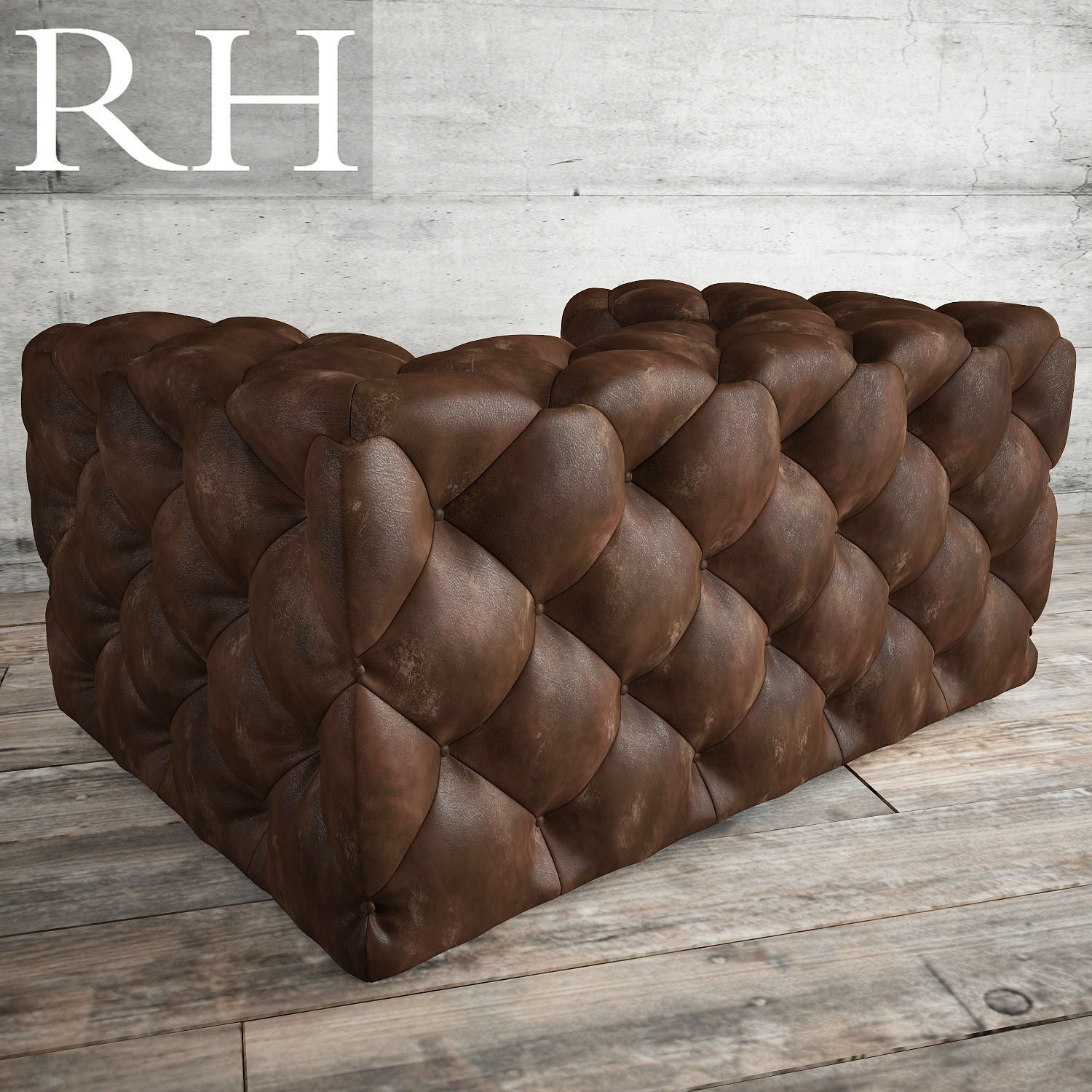 SOHO TUFTED LEATHER CHAIR 3D model
