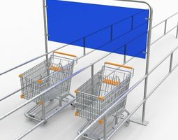 low-poly 3d model trolley rack