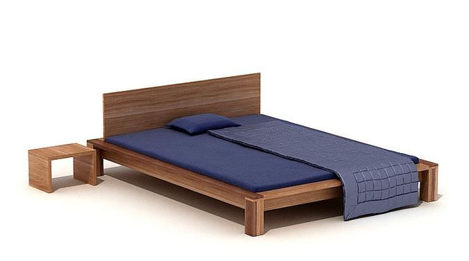 wooden platform bed with a nightstand 3d model. Black Bedroom Furniture Sets. Home Design Ideas