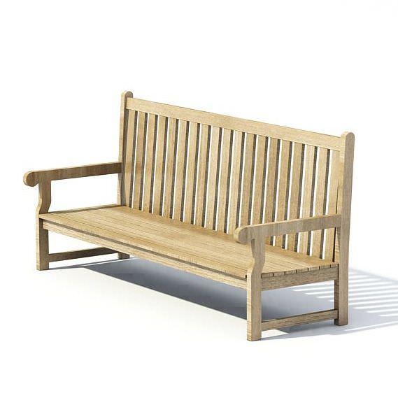 Wooden Park Bench 3d Model
