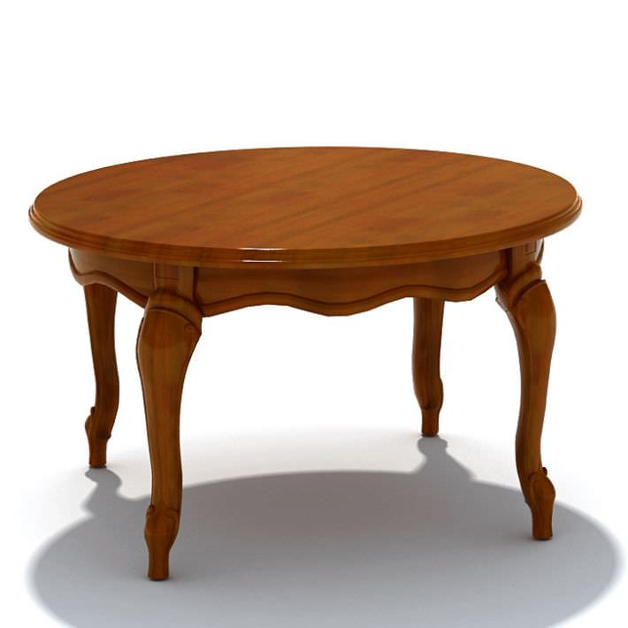 Round vintage wood table 3d model for New model wooden dining table