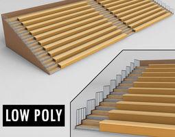 3D model Stadium seating wooden tribune low poly