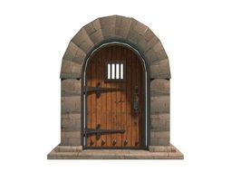 3D model VR / AR ready medieval door