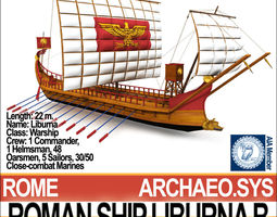 Roman Ship Liburna B 3D Model