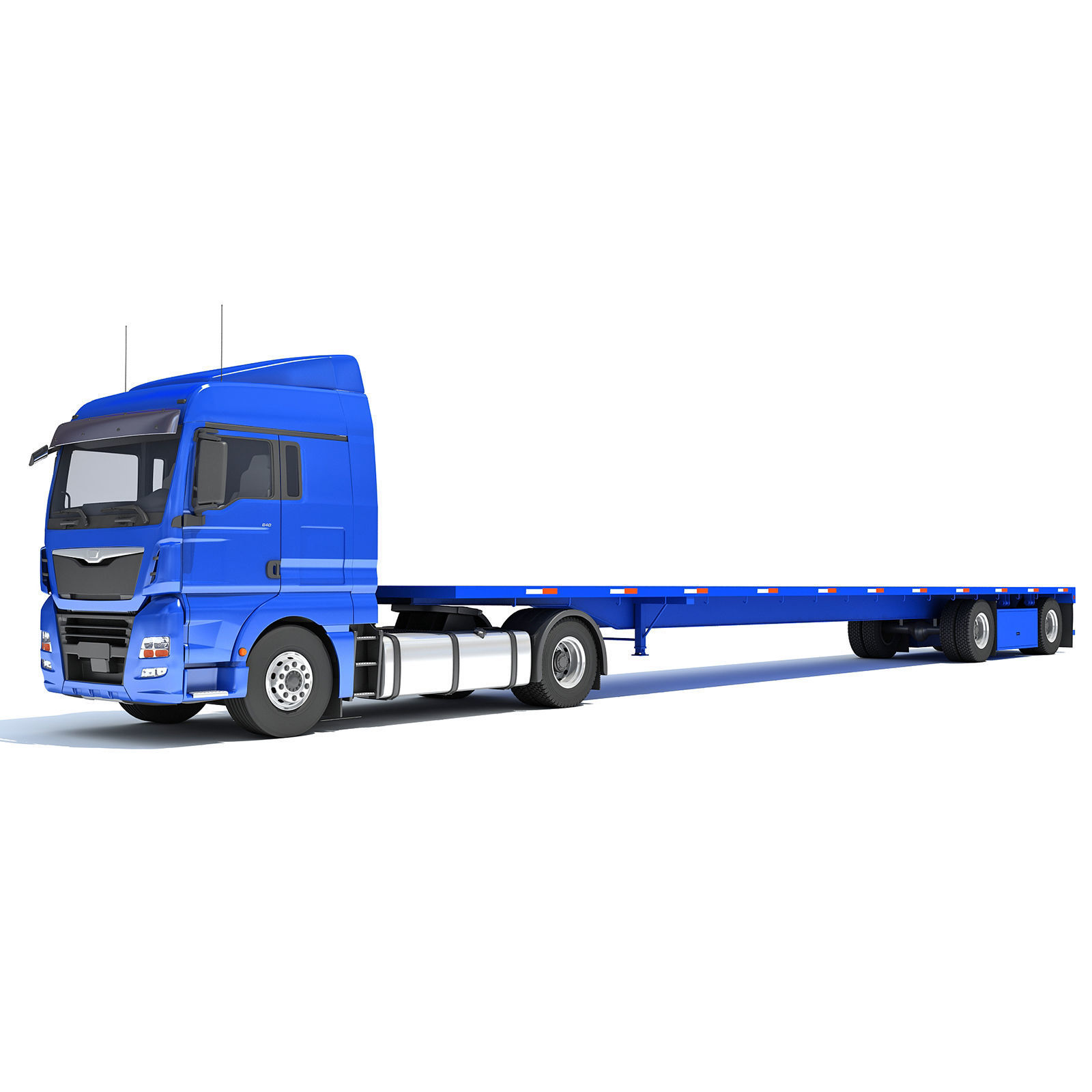 Freightliner Truck with Flatbed Trailer