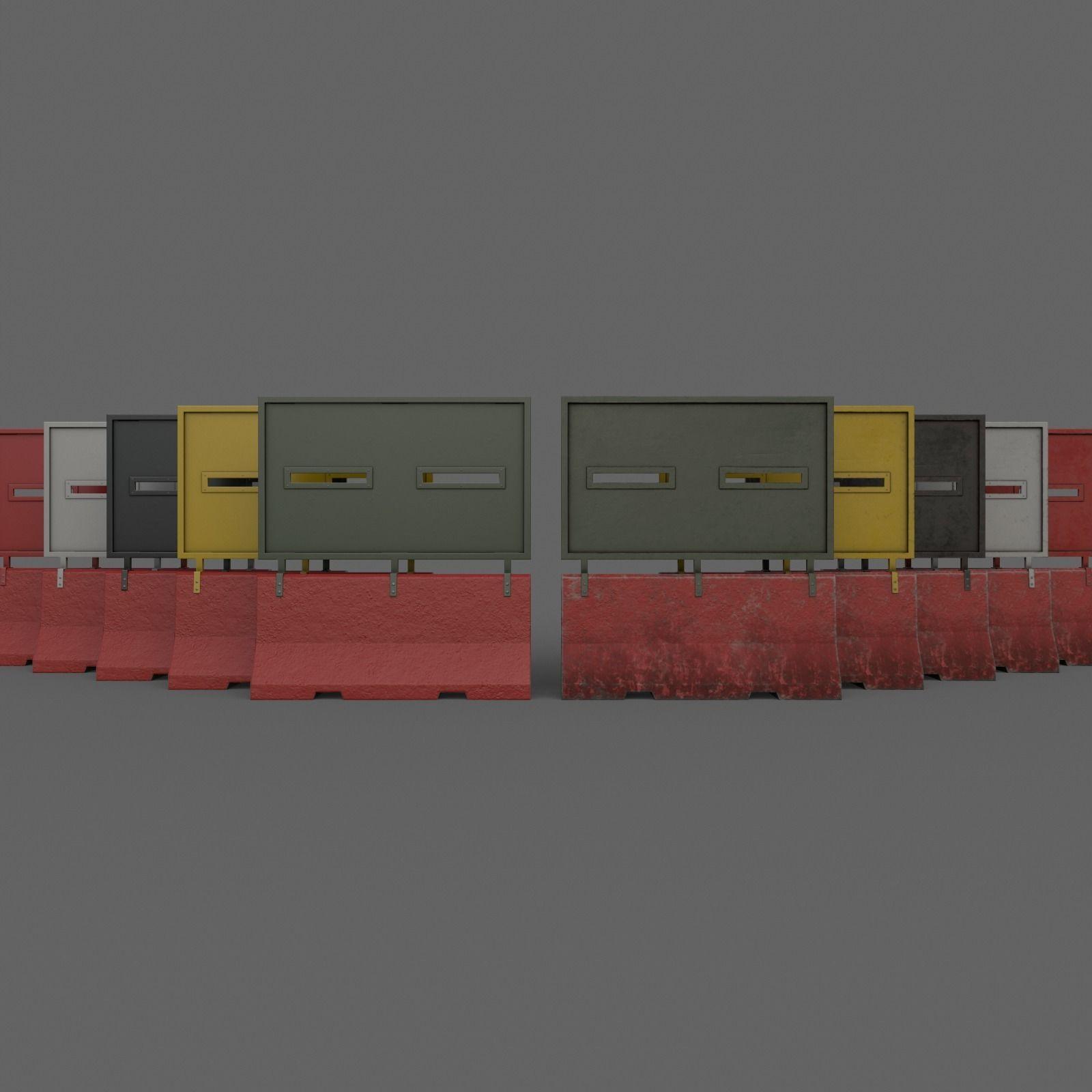 PBR Concrete Roadblock Barrier V4