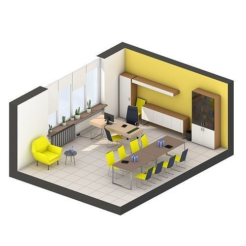 Modern office interior low-poly 3D model