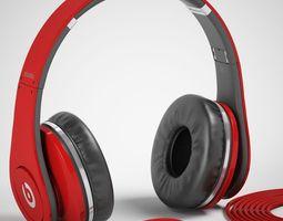 3d model monster beats studio headphones with headset