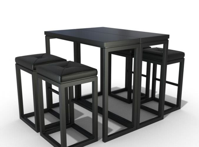 black kitchen table set 3d model cgtrader