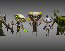 3d asset monster character game collection 1 rigged