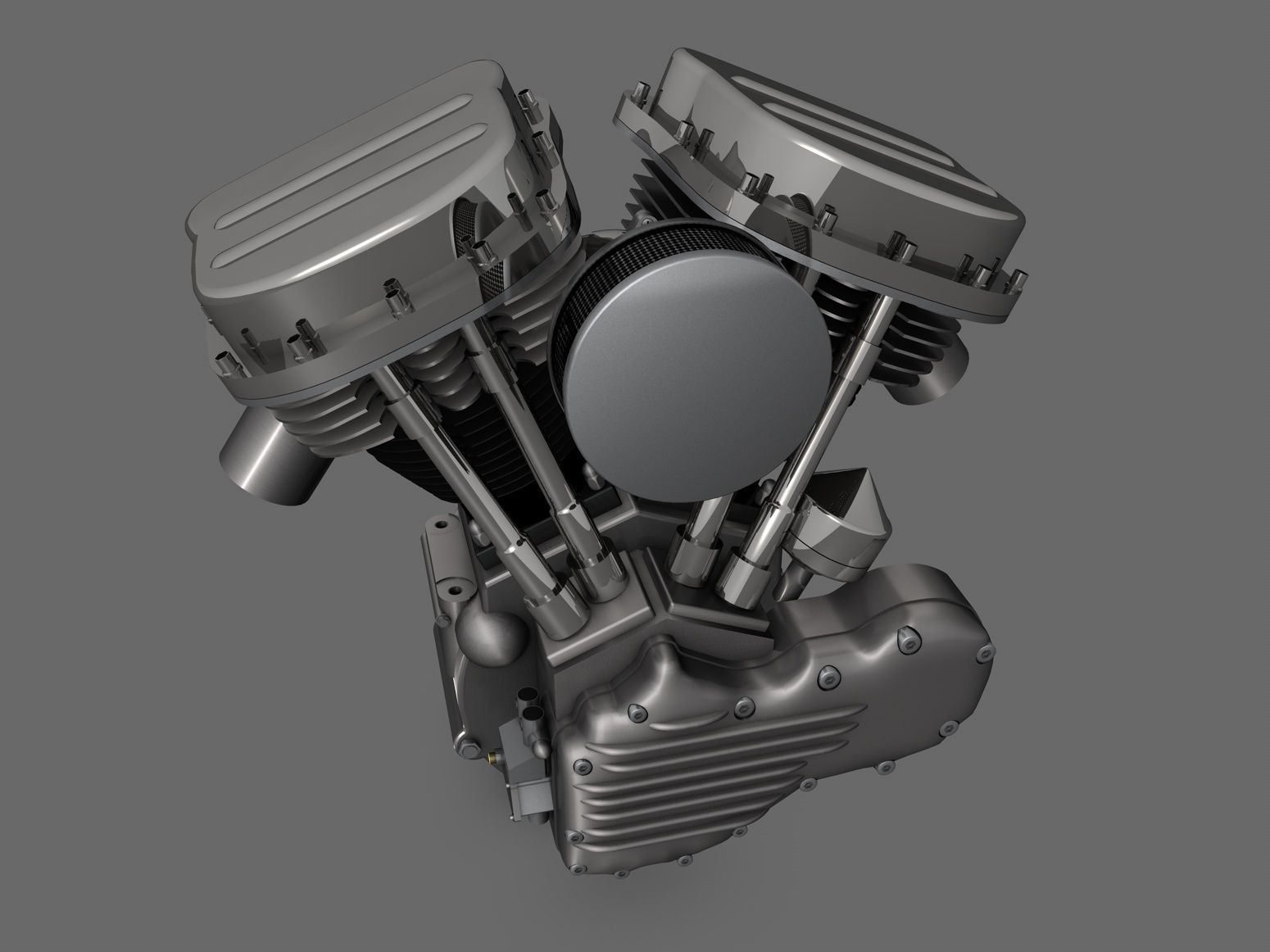 panhead harley motorcycle engine 3d model obj 3ds fbx c4d dxf stl