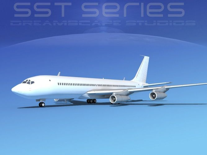 boeing 707-320 ss unmarked 1 3d model max obj mtl 3ds lwo lw lws dxf stl 1