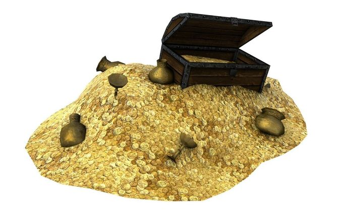 treasure with coins and chest 3d model low-poly max obj 3ds fbx c4d tga 1