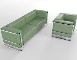 3D model Lobby leather sofa and armchair
