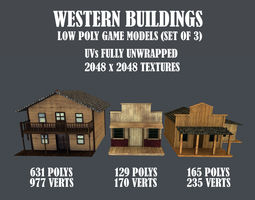 VR / AR ready Western Styled Building Low Poly Game 5