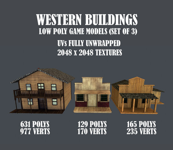western styled building low poly game ready models - set of 3 3d model low-poly obj tga 1