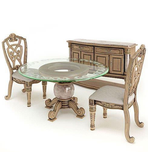 Antique Dining Set3D model