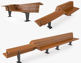 3D model Bench chair street