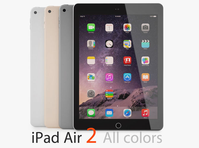 Apple ipad air 2 all colors 3d cgtrader for Architecte 3d ipad