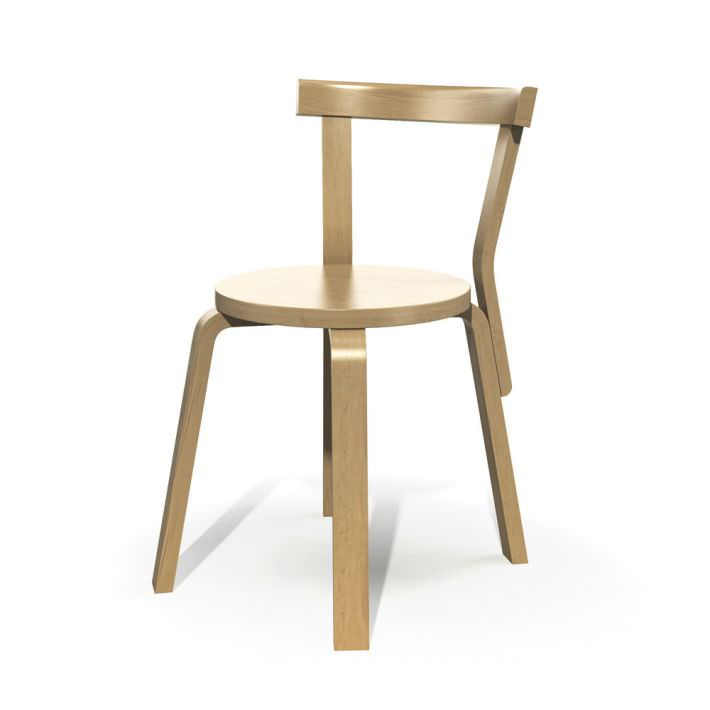 Wooden Chair With Backrest 3d Model