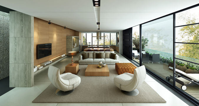 penthouse living room 3d model max fbx 1