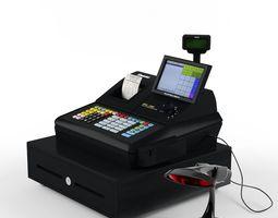 sam4s samsung sps-530 cash register  with barcode reader 3d