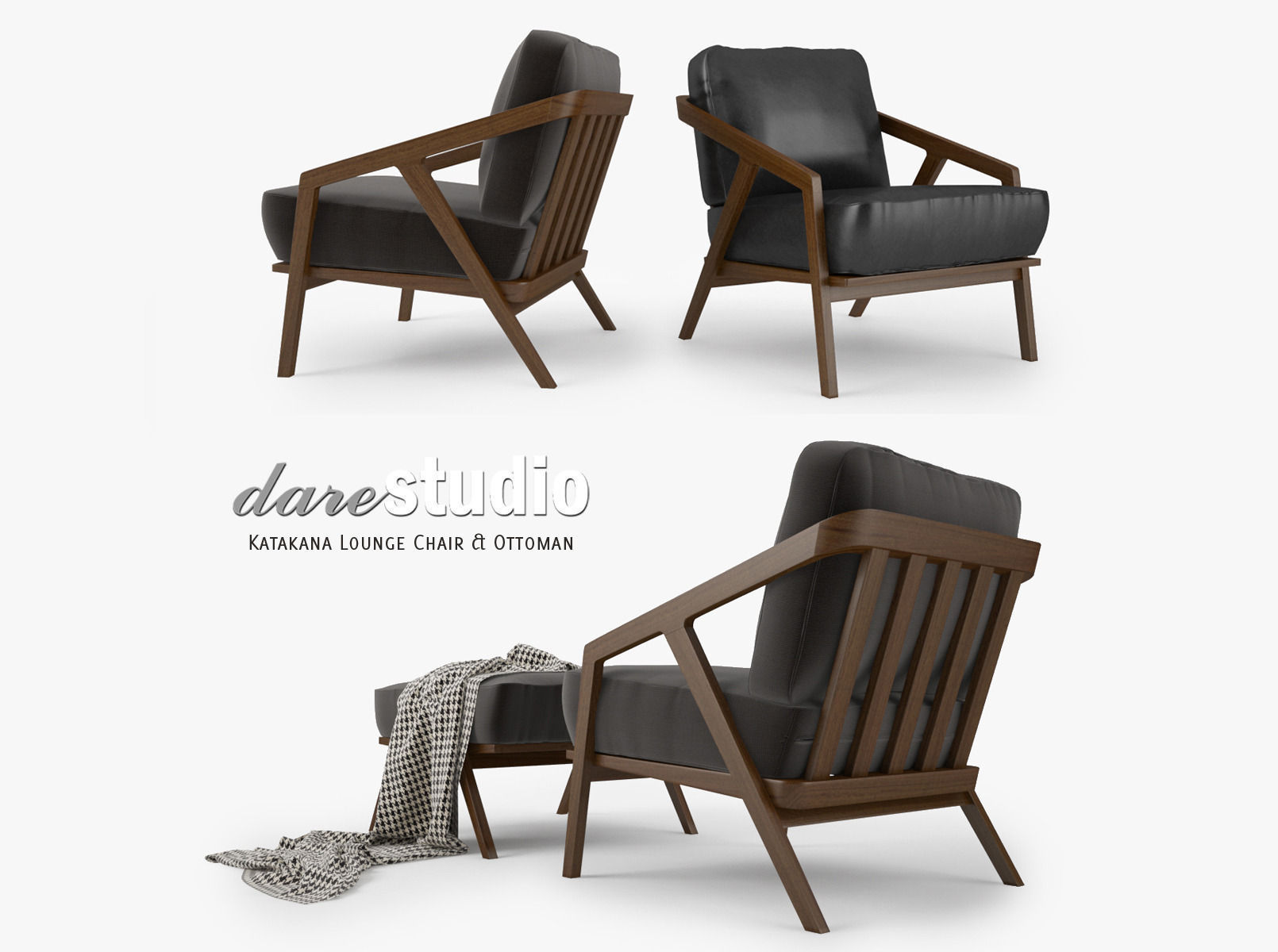 Dare Studio Katakana Lounge Chair And Ottoman 3d Model Max Obj Fbx Mtl 1 ...