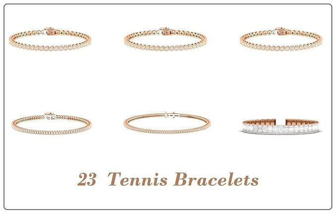 23 Tennis bracelet bracelet 3dm stl render detail