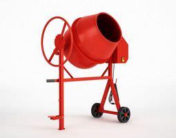 Red Cement Mixer 3D