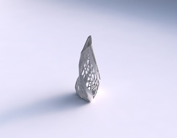 vase twist puffy tipped triangle with organic lattice and solid sides 3d print model