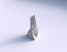 3d printable model vase twist grounded tilted triangle with organic lattice and solid sides