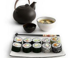 3d model asian food sushi soup and tea