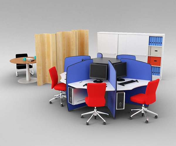 Colorful office furniture set 3d cgtrader for Colorful office furniture