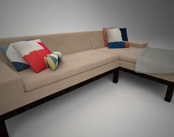 3d model west elm lorimer sofa with chaise