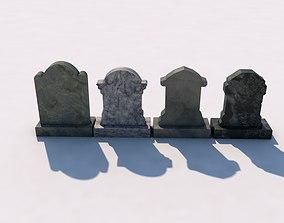 3D model Set of 4 Tombstones