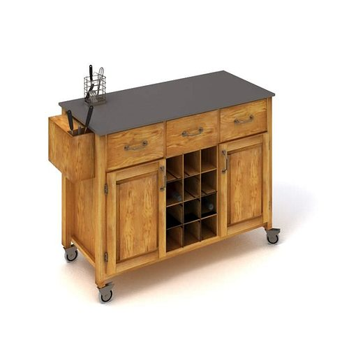 3d wooden slate toped sideboard cgtrader for Sideboard 3d