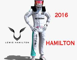 realtime animated lewis hamilton 2016 3d asset