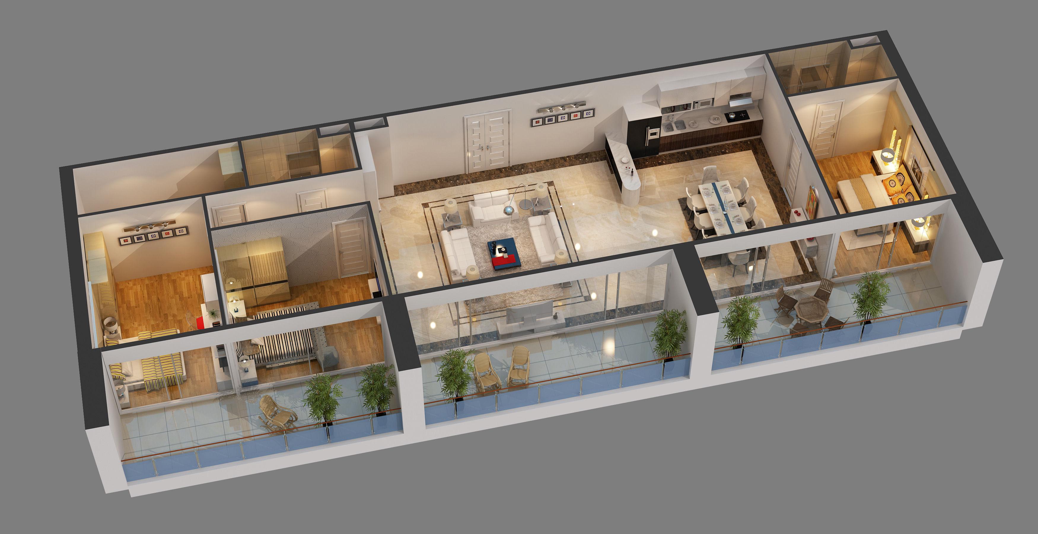 Good ... Cutaway Apartment Full Furnitures In Modern Design 3d Model Max 2 ...