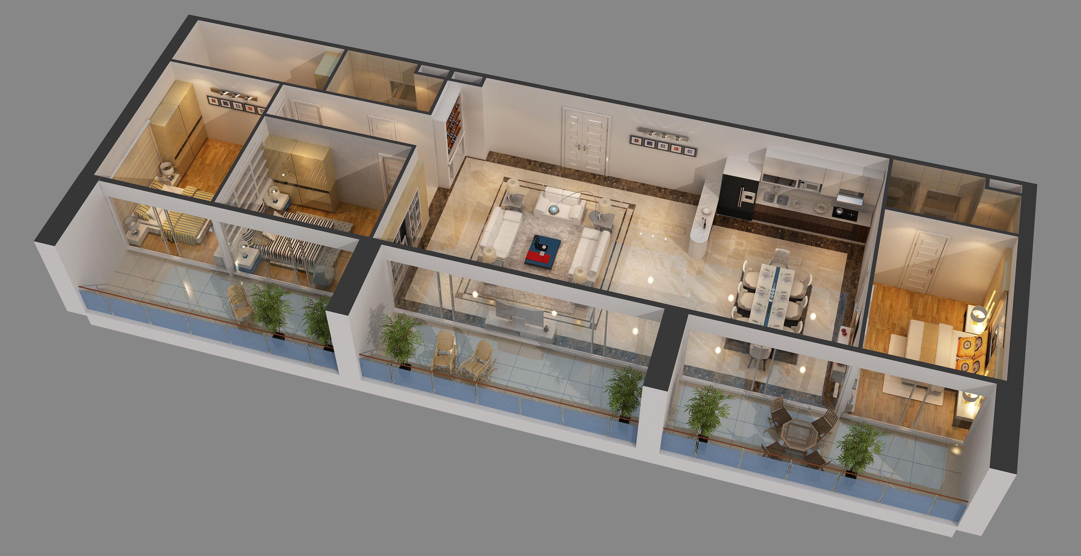 Apartment Design 3d cutaway apartment full furnitures in modern design 3d model max