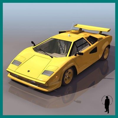lamborghini countach car 3d model max. Black Bedroom Furniture Sets. Home Design Ideas